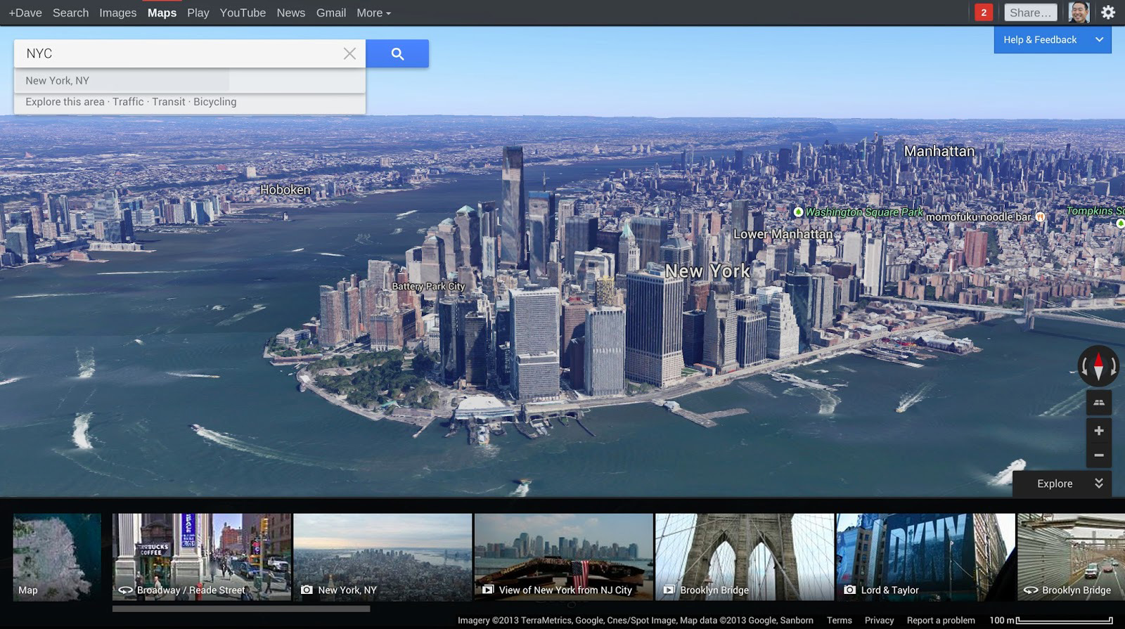google maps integrates earth and street view
