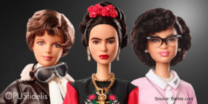 Inspiring Women dolls Amelia Earhart, Frida Kahlo, and Katherine Johnson
