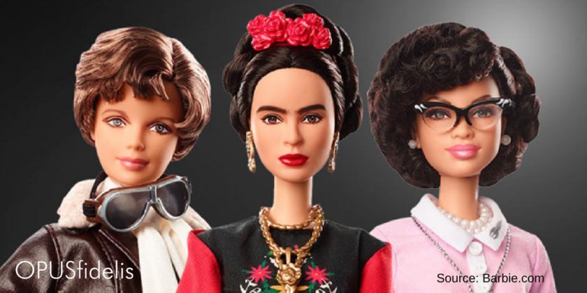 Inspiring Women dolls Amelia Earhart, Frida Kahlo, and Katherine Johnson