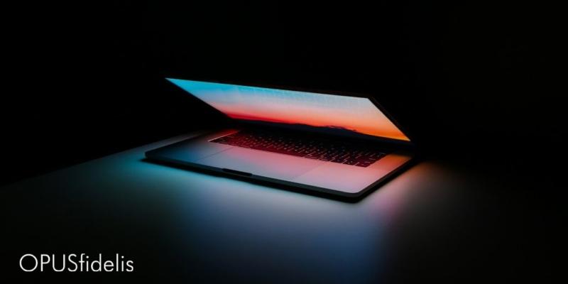 Apple with screen alight