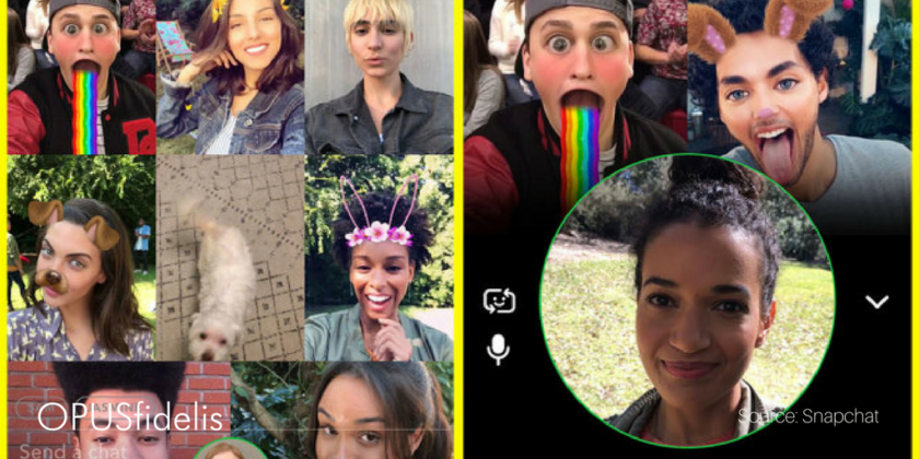 Snapchat group video chat interface