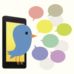 Bluebird with smartphone