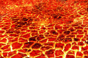 hot lava in cracked ground